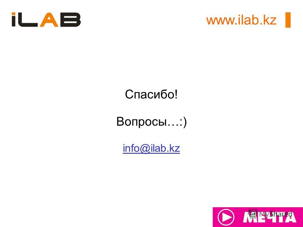 Спасибо! Вопросы…:) info@ilab.kz www.ilab.kz