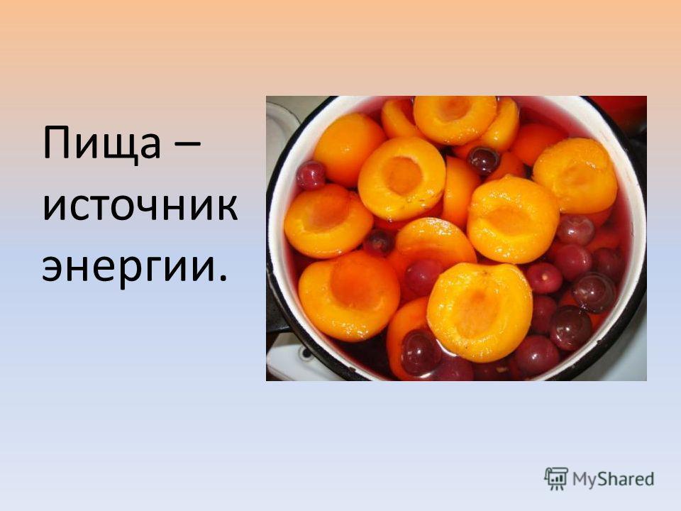 Пища – источник энергии.