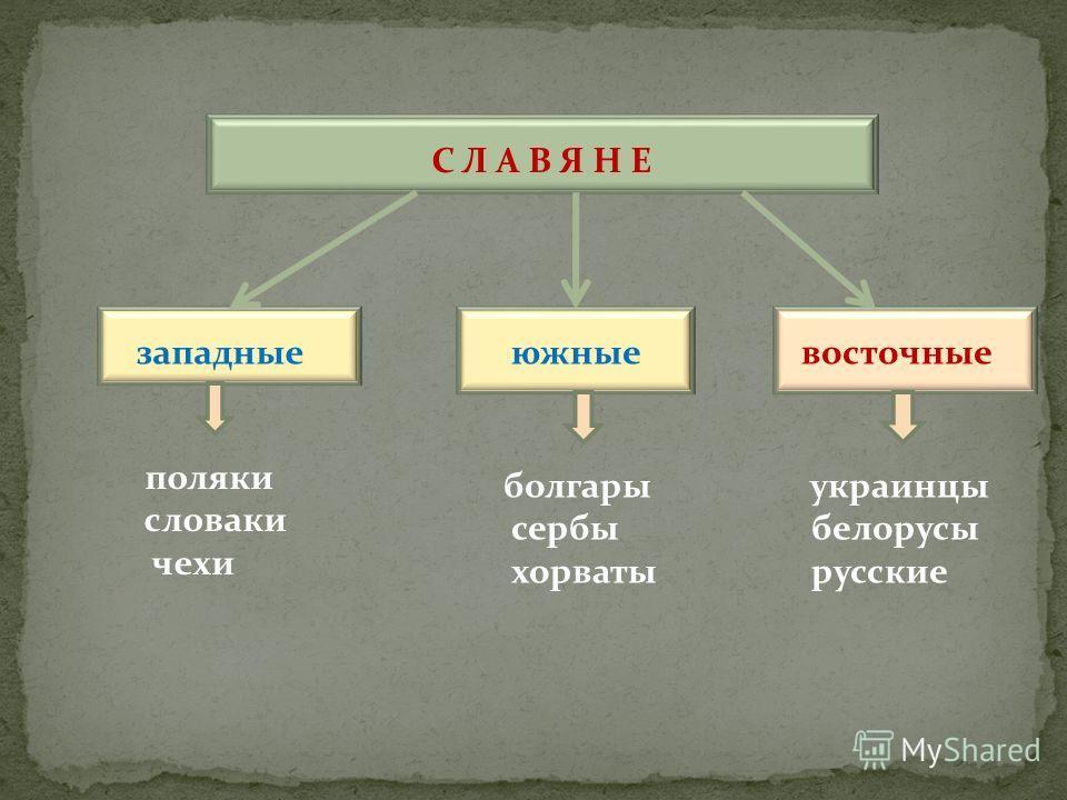С Л А В Я Н Е западные южные восточные поляки словаки чехи болгары сербы хорваты украинцы белорусы русские