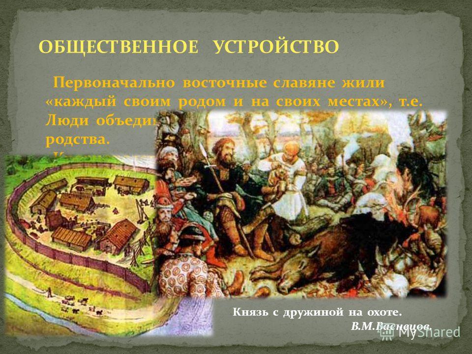ОБЩЕСТВЕННОЕ УСТРОЙСТВО Первоначально восточные славяне жили «каждый своим родом и на своих местах», т.е. Люди объединялись на основе кровного родства. Кровнородственную общину сменила соседская (территориальная) община - вервь. В VI-VII вв. славяне