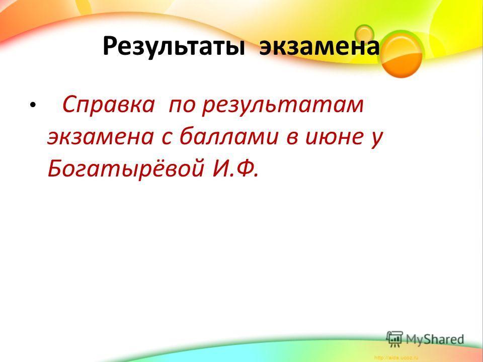 Результаты экзамена Справка по результатам экзамена с баллами в июне у Богатырёвой И.Ф.