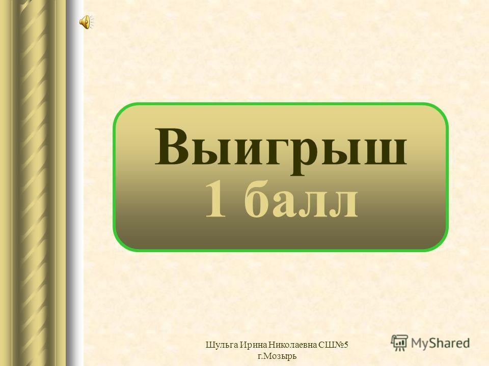 Выигрыш 0 баллов Шульга Ирина Николаевна СШ5 г.Мозырь