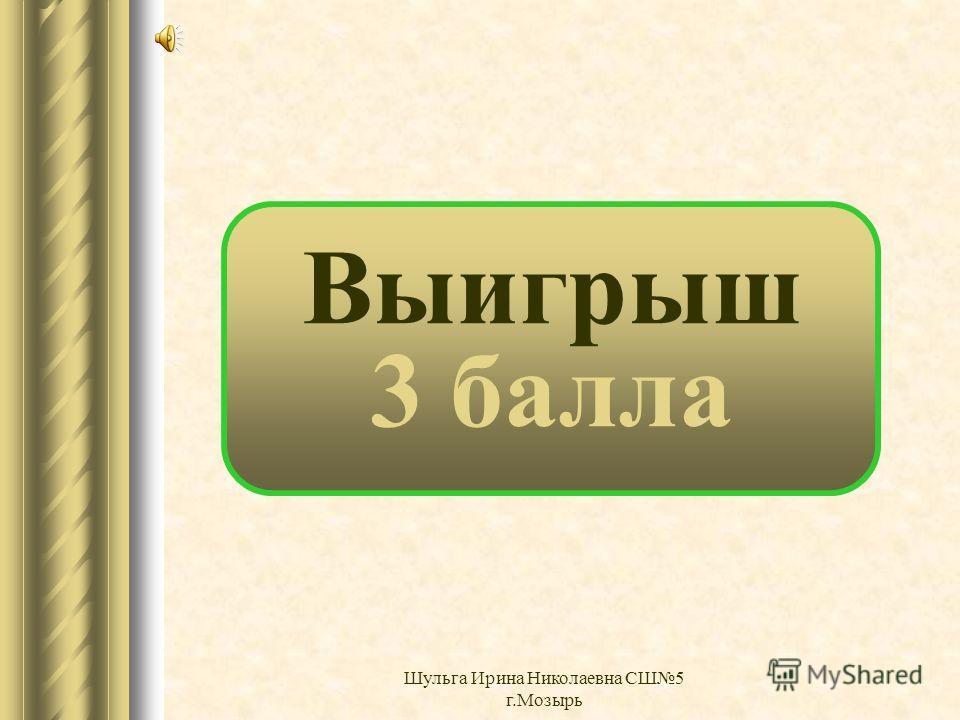 Выигрыш 2 балла Шульга Ирина Николаевна СШ5 г.Мозырь