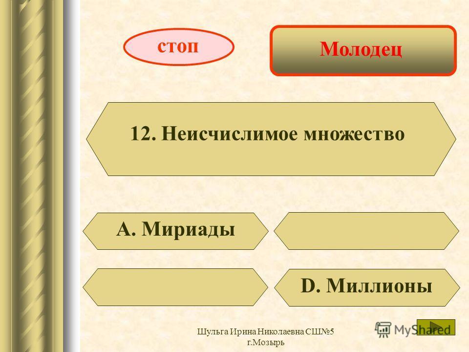 Выигрыш 10 баллов 11. Ропот В. Недовольство D. Шорох стоп Шульга Ирина Николаевна СШ5 г.Мозырь