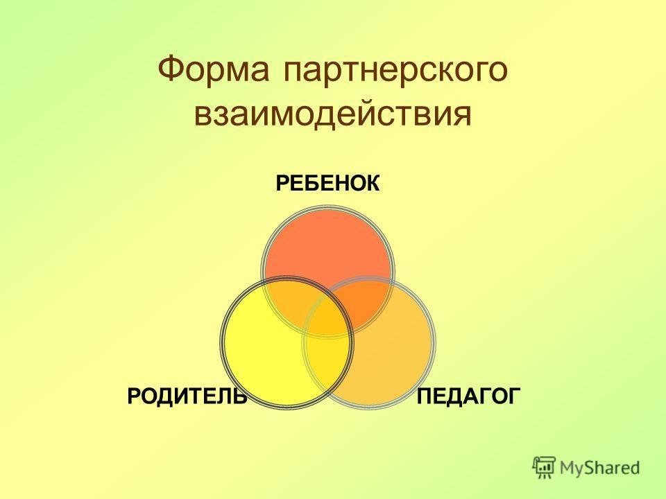 Форма партнерского взаимодействия РЕБЕНОК ПЕДАГОГРОДИТЕЛЬ