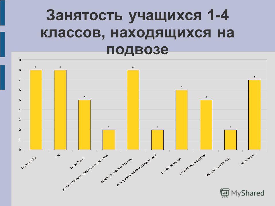 Занятость учащихся 1-4 классов, находящихся на подвозе