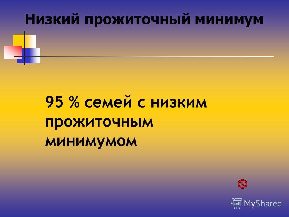 Низкий прожиточный минимум 95 % семей с низким прожиточным минимумом