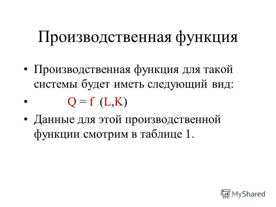 Производственная функция Производственная функция для такой системы будет иметь следующий вид: Q = f (L,K) Данные для этой производственной функции смотрим в таблице 1.