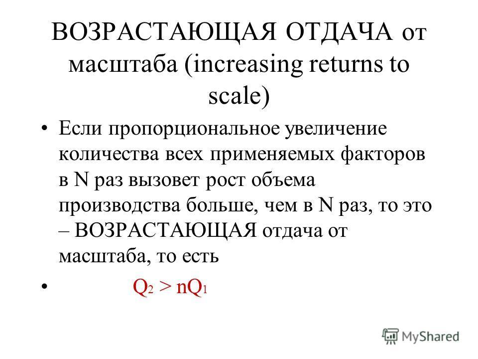 ВОЗРАСТАЮЩАЯ ОТДАЧА от масштаба (increasing returns to scale) Если пропорциональное увеличение количества всех применяемых факторов в N раз вызовет рост объема производства больше, чем в N раз, то это – ВОЗРАСТАЮЩАЯ отдача от масштаба, то есть Q 2 >