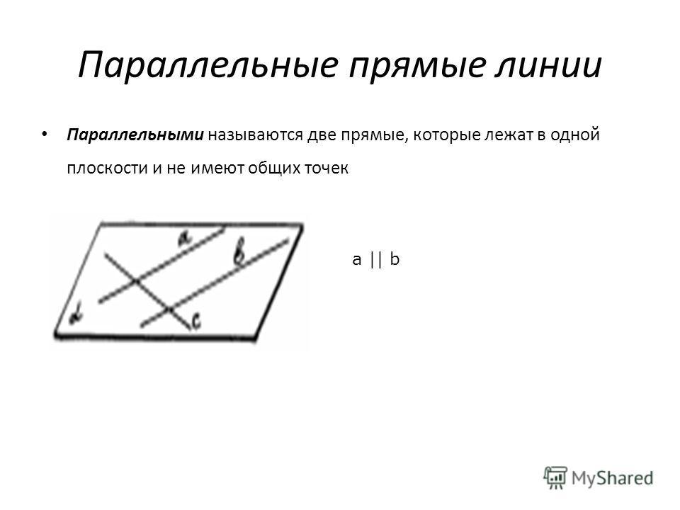 Параллельные прямые линии Параллельными называются две прямые, которые лежат в одной плоскости и не имеют общих точек a || b
