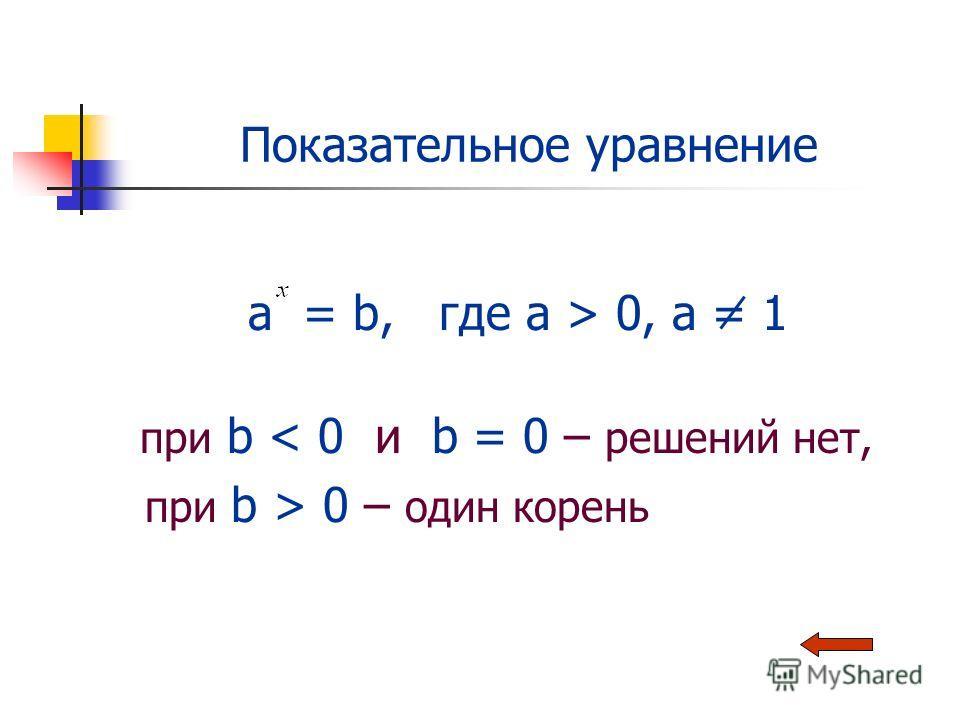 Показательное уравнение a = b, где a > 0, a = 1 при b < 0 и b = 0 – решений нет, при b > 0 – один корень