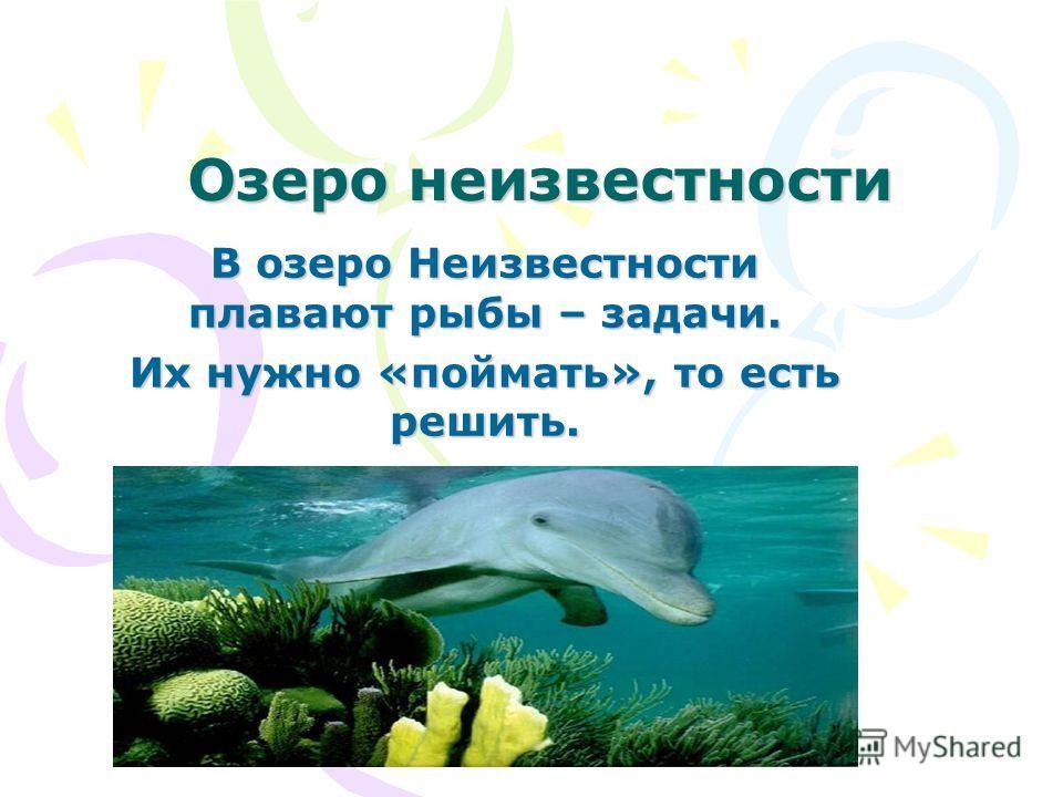 Озеро неизвестности В озеро Неизвестности плавают рыбы – задачи. Их нужно «поймать», то есть решить.