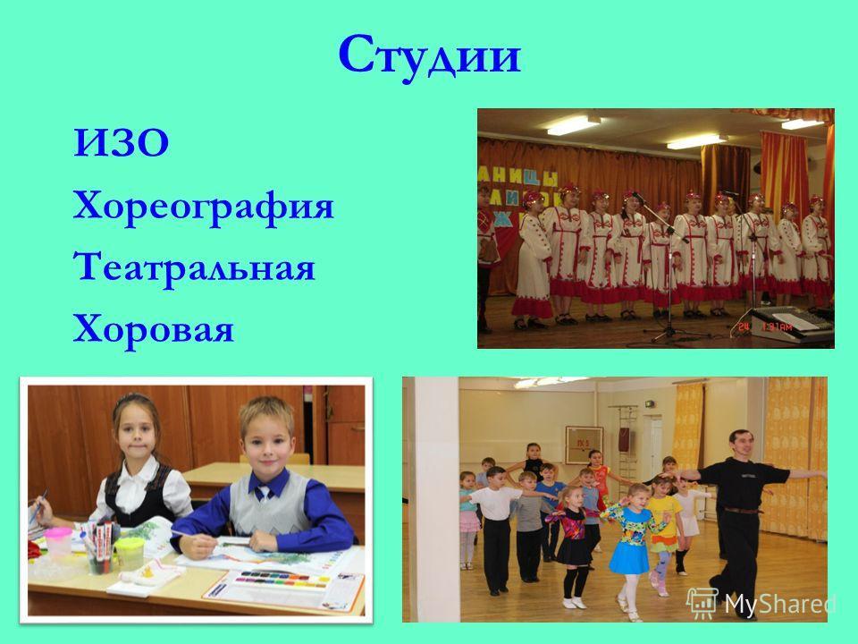 Студии ИЗО Хореография Театральная Хоровая