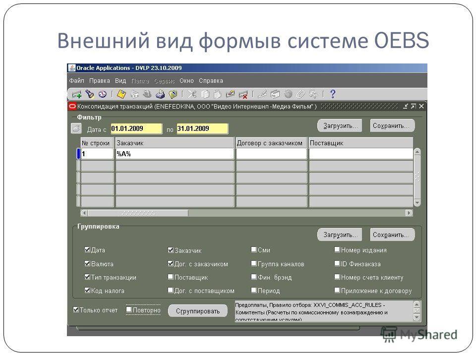 Внешний вид формыв системе OEBS