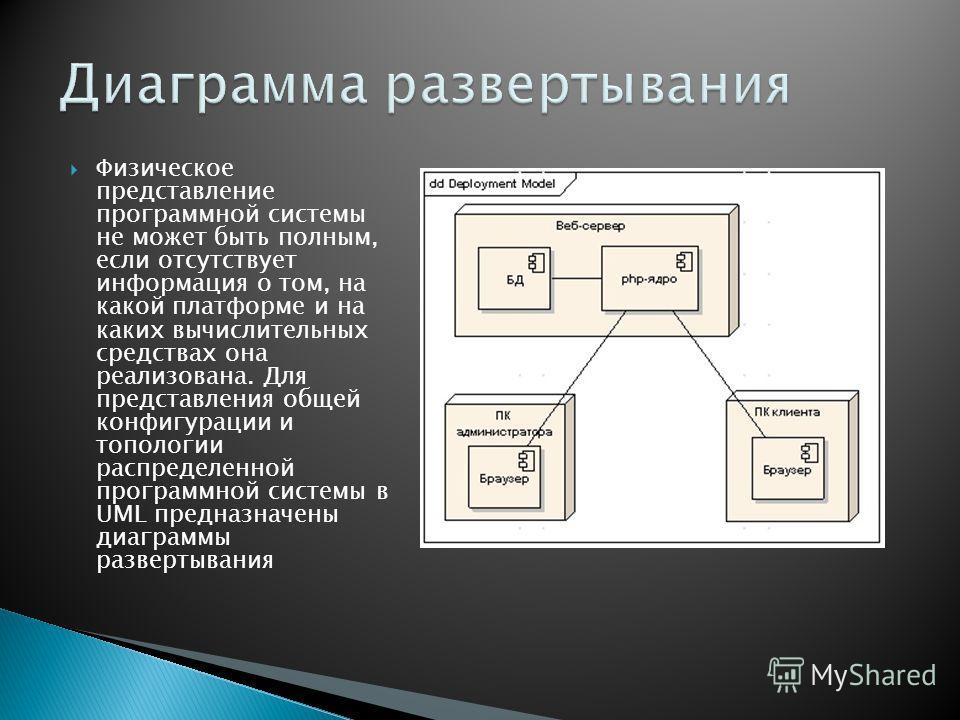Физическое представление программной системы не может быть полным, если отсутствует информация о том, на какой платформе и на каких вычислительных средствах она реализована. Для представления общей конфигурации и топологии распределенной программной