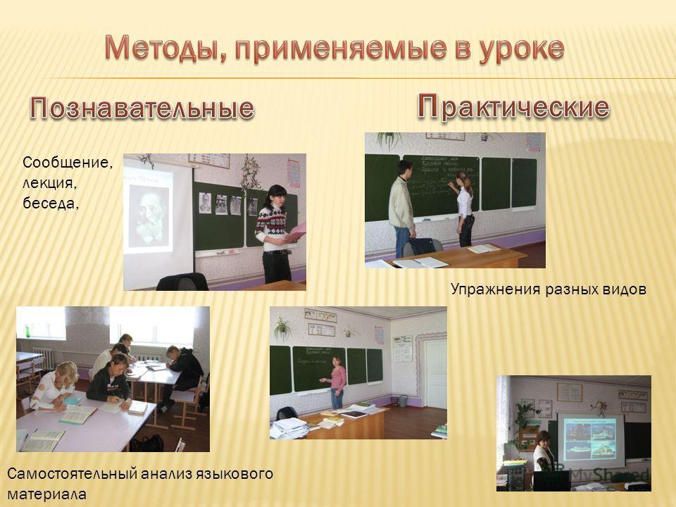Сообщение, лекция, беседа, Самостоятельный анализ языкового материала Упражнения разных видов