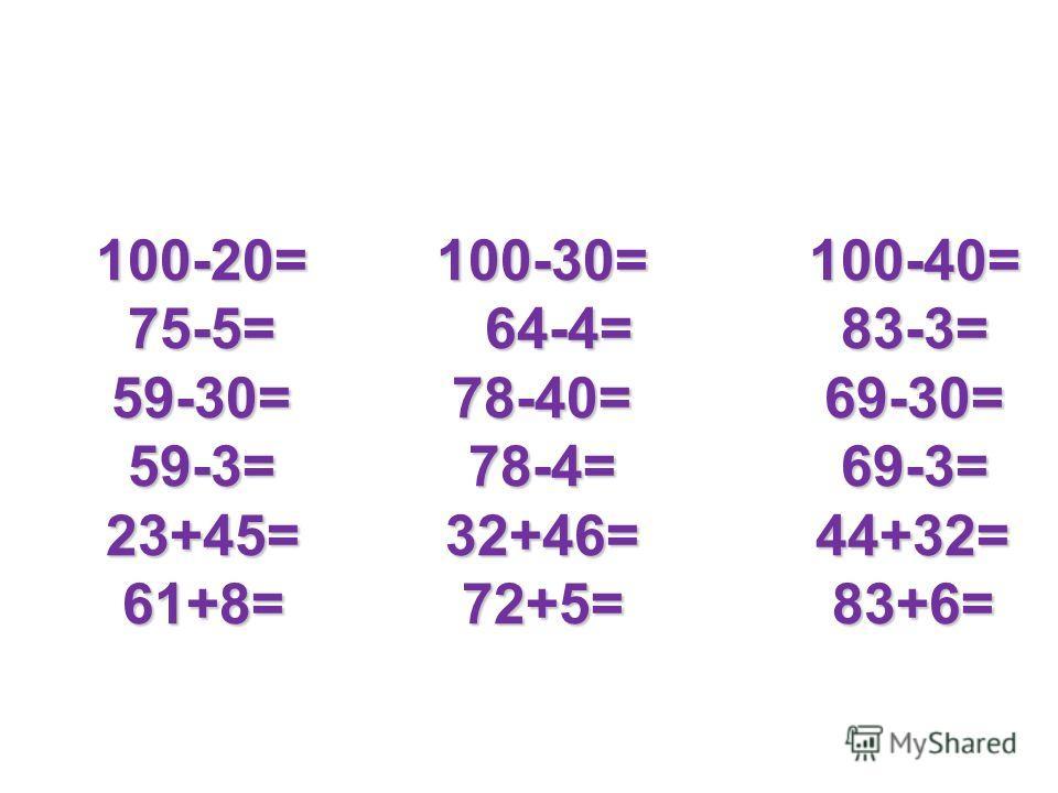 100-20= 100-30= 100-40= 75-5= 64-4= 83-3= 59-30= 78-40= 69-30= 59-3= 78-4= 69-3= 23+45= 32+46= 44+32= 61+8= 72+5= 83+6= 100-20= 100-30= 100-40= 75-5= 64-4= 83-3= 59-30= 78-40= 69-30= 59-3= 78-4= 69-3= 23+45= 32+46= 44+32= 61+8= 72+5= 83+6=
