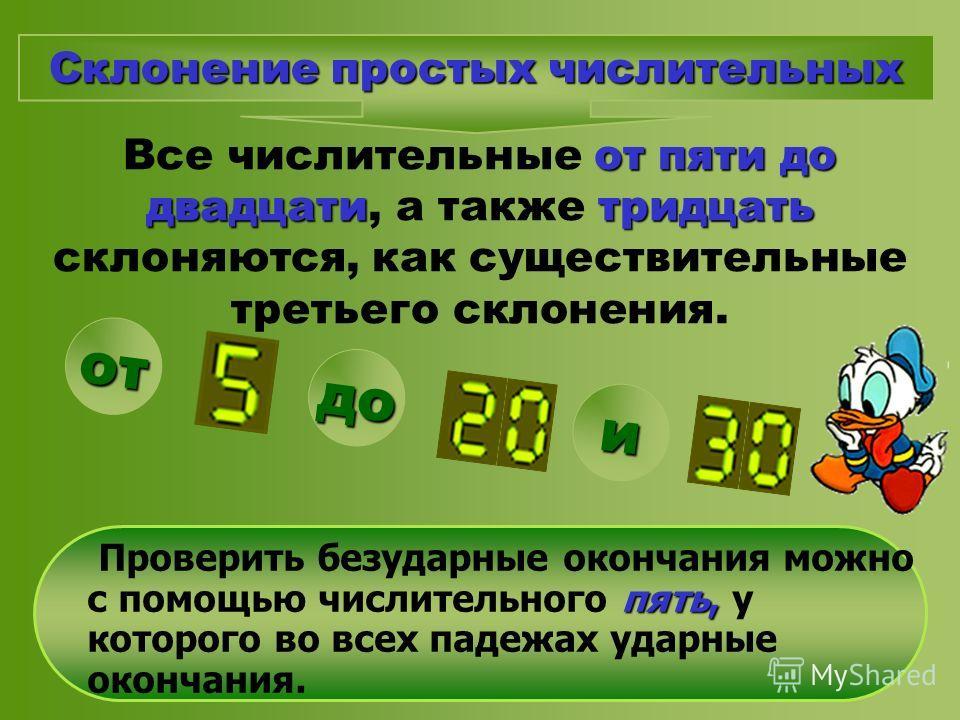 от пяти до двадцатитридцать Все числительные от пяти до двадцати, а также тридцать склоняются, как существительные третьего склонения. пять, Проверить безударные окончания можно с помощью числительного пять, у которого во всех падежах ударные окончан