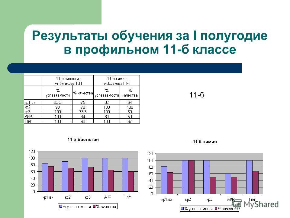 Результаты обучения за I полугодие в профильном 11-б классе