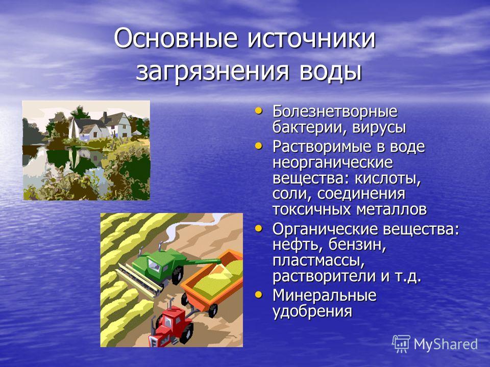 Основные источники загрязнения воды Болезнетворные бактерии, вирусы Болезнетворные бактерии, вирусы Растворимые в воде неорганические вещества: кислоты, соли, соединения токсичных металлов Растворимые в воде неорганические вещества: кислоты, соли, со