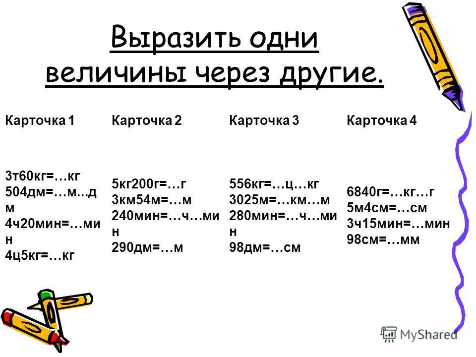 Выразить одни величины через другие. Карточка 1Карточка 2Карточка 3Карточка 4 3т60кг=…кг 504дм=…м...д м 4ч20мин=…ми н 4ц5кг=…кг 5кг200г=…г 3км54м=…м 240мин=…ч…ми н 290дм=…м 556кг=…ц…кг 3025м=…км…м 280мин=…ч…ми н 98дм=…см 6840г=…кг…г 5м4см=…см 3ч15мин