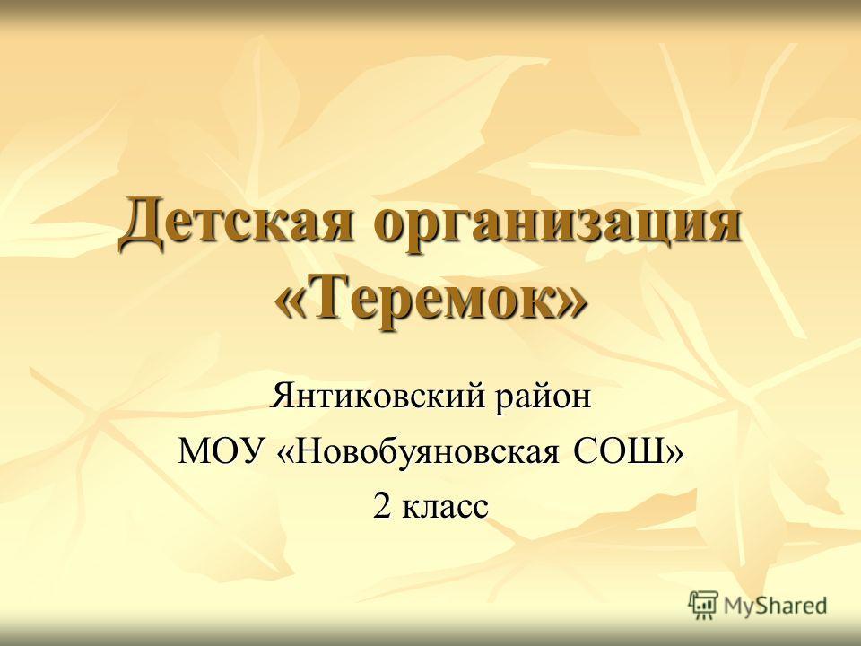 Детская организация «Теремок» Янтиковский район МОУ «Новобуяновская СОШ» 2 класс