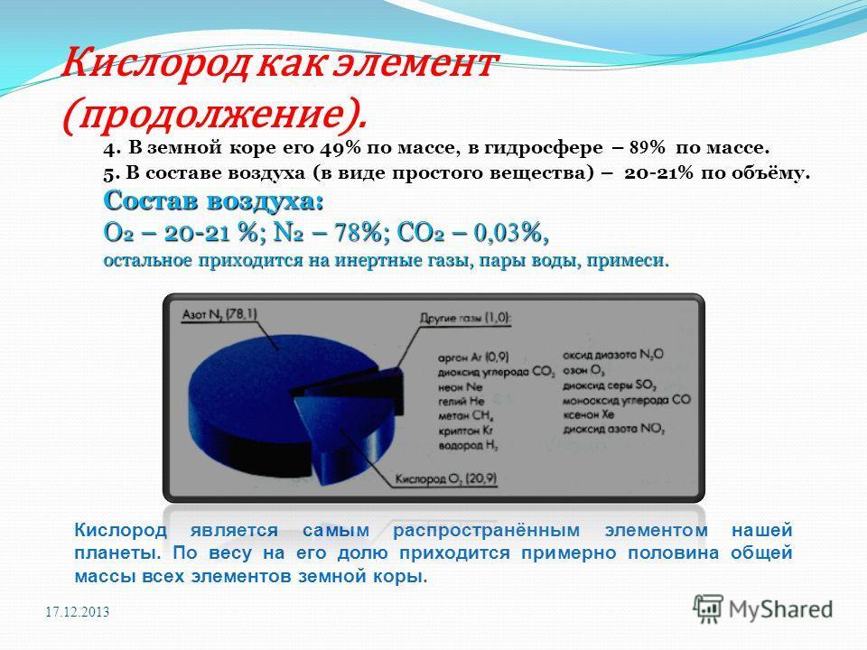 Кислород как элемент (продолжение). 4. В земной коре его 49% по массе, в гидросфере – 89 % по массе. 5. В составе воздуха (в виде простого вещества) – 20-21% по объёму. Состав воздуха: О 2 – 20-21 %; N 2 – 78 %; CO 2 – 0,03 %, остальное приходится на