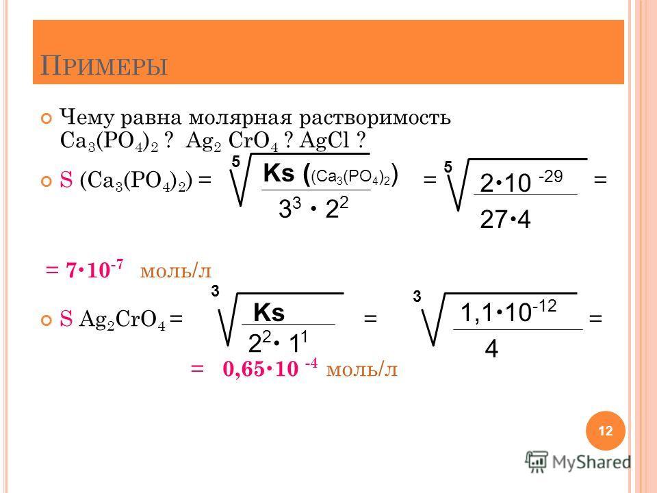 П РИМЕРЫ Чему равна молярная растворимость Ca 3 (PO 4 ) 2 ? Аg 2 CrO 4 ? AgCl ? S (Ca 3 (PO 4 ) 2 ) = = = = 7 10 -7 моль/л S Ag 2 CrO 4 = = = = 0,65 10 -4 моль/л 12 Ks ( (Ca 3 (PO 4 ) 2 ) 3 3 2 2 5 2 10 - 29 27 4 3 Ks 2 2 1 1 3 1,1 10 -12 4 5