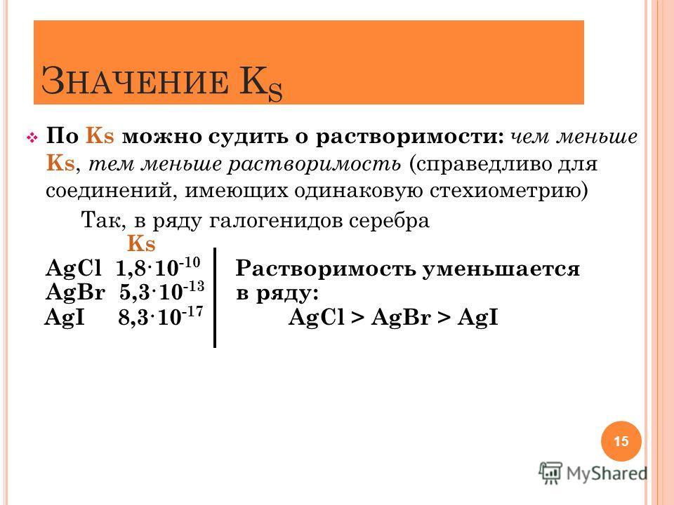 З НАЧЕНИЕ K S По Ks можно судить о растворимости: чем меньше Ks, тем меньше растворимость (справедливо для соединений, имеющих одинаковую стехиометрию) Так, в ряду галогенидов серебра Ks AgCl 1,8·10 -10 Растворимость уменьшается AgBr 5,3·10 -13 в ряд