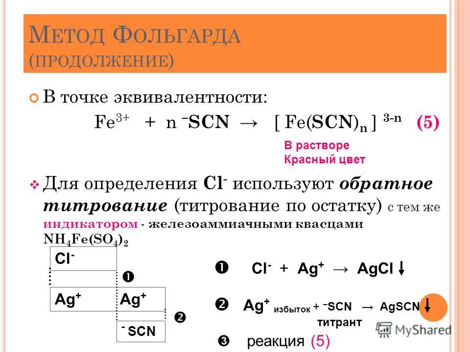 М ЕТОД Ф ОЛЬГАРДА ( ПРОДОЛЖЕНИЕ ) В точке эквивалентности: Fe 3+ + n – SCN [ Fe( SCN ) n ] 3-n (5) Для определения Cl - используют обратное титрование (титрование по остатку) с тем же индикатором - железоаммиачными квасцами NH 4 Fe(SO 4 ) 2 34 В раст