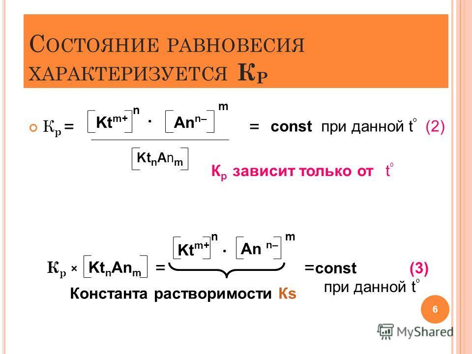 С ОСТОЯНИЕ РАВНОВЕСИЯ ХАРАКТЕРИЗУЕТСЯ К Р К р = = К р × = = 6 Kt m+ n An n– m Kt n An m const при данной t º (2) К р зависит только от t º Kt n An m Kt m+ n An n– m const (3) при данной t º Константа растворимости Кs