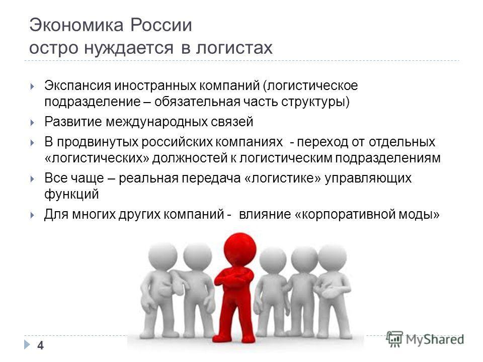 Экономика России остро нуждается в логистах Экспансия иностранных компаний (логистическое подразделение – обязательная часть структуры) Развитие международных связей В продвинутых российских компаниях - переход от отдельных «логистических» должностей
