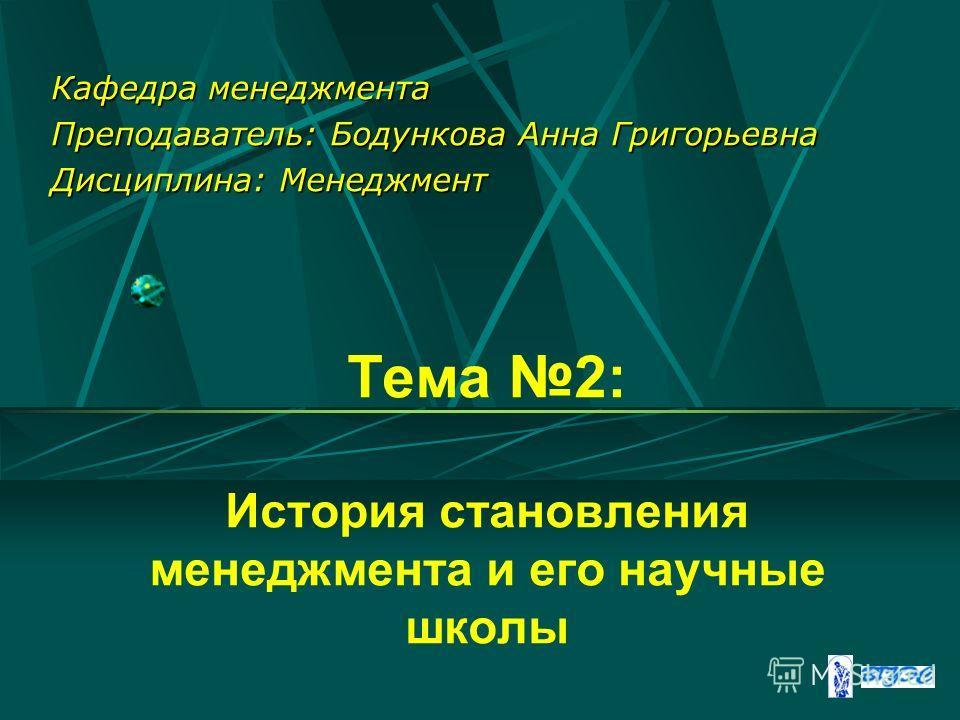 Тема 2: История становления менеджмента и его научные школы Кафедра менеджмента Преподаватель: Бодункова Анна Григорьевна Дисциплина: Менеджмент