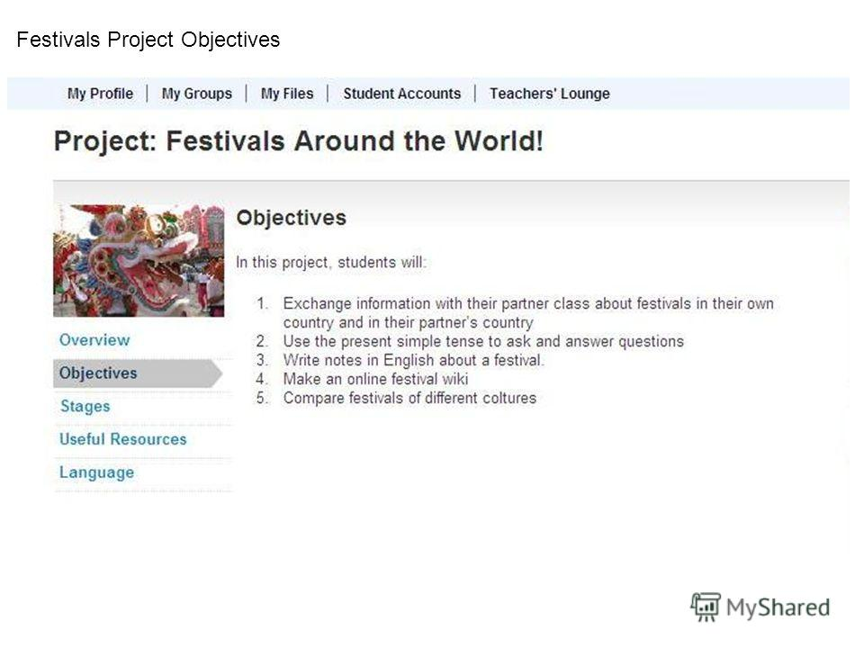 Festivals Project Objectives