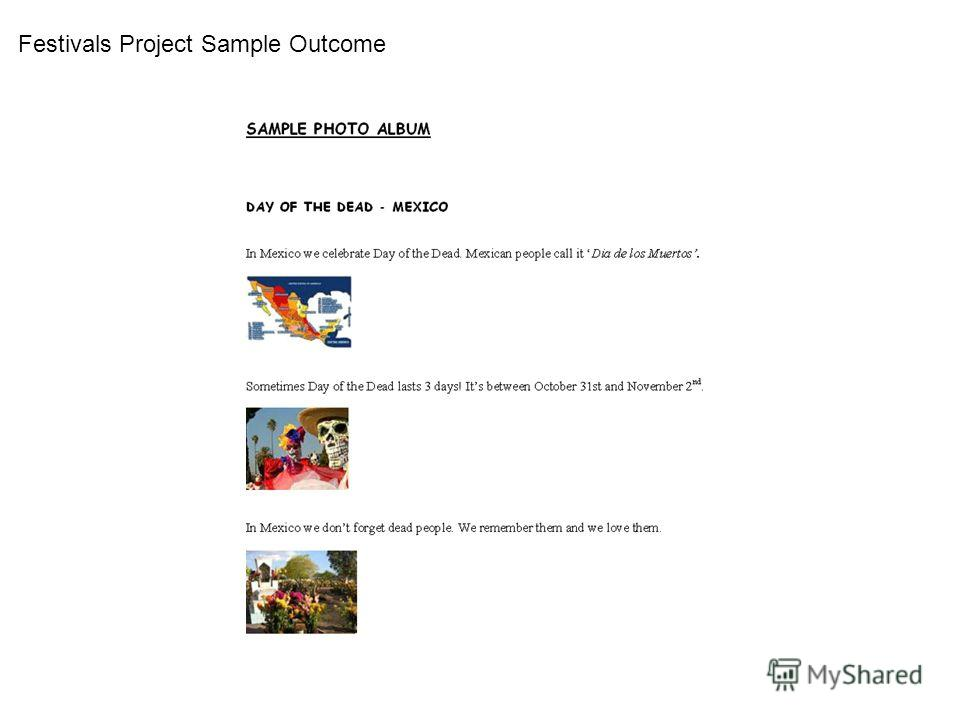 Festivals Project Sample Outcome