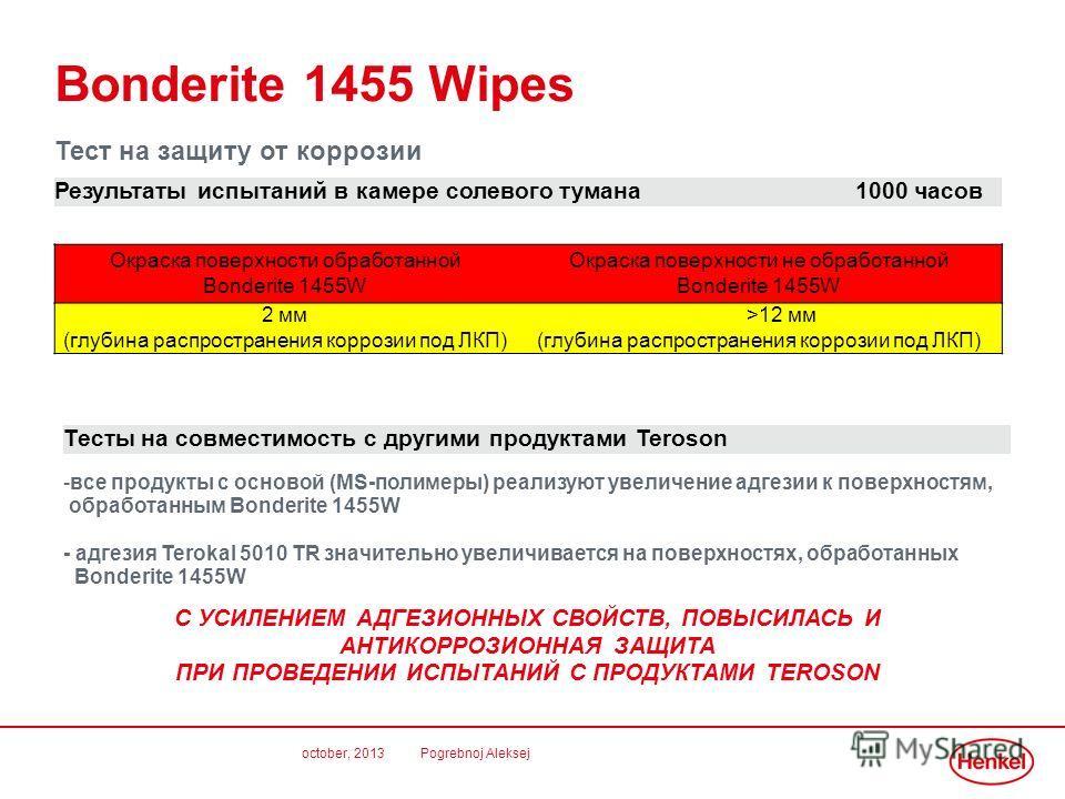 october, 2013 Pogrebnoj Aleksej Bonderite 1455 Wipes Тест на защиту от коррозии Результаты испытаний в камере солевого тумана 1000 часов Тесты на совместимость с другими продуктами Teroson -все продукты с основой (MS-полимеры) реализуют увеличение ад