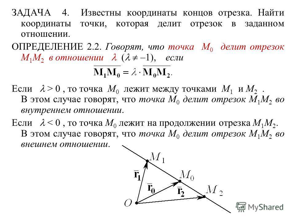 ЗАДАЧА 4. Известны координаты концов отрезка. Найти координаты точки, которая делит отрезок в заданном отношении. ОПРЕДЕЛЕНИЕ 2.2. Говорят, что точка M 0 делит отрезок M 1 M 2 в отношении ( –1), если Если > 0, то точка M 0 лежит между точками M 1 и M