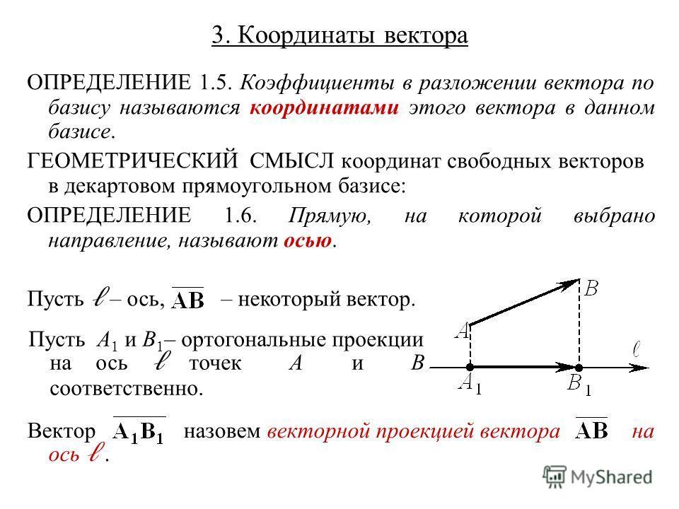 3. Координаты вектора ОПРЕДЕЛЕНИЕ 1.5. Коэффициенты в разложении вектора по базису называются координатами этого вектора в данном базисе. ГЕОМЕТРИЧЕСКИЙ СМЫСЛ координат свободных векторов в декартовом прямоугольном базисе: ОПРЕДЕЛЕНИЕ 1.6. Прямую, на
