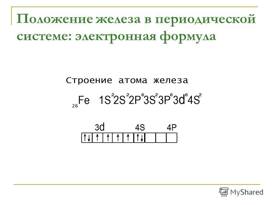 Положение железа в периодической системе: электронная формула