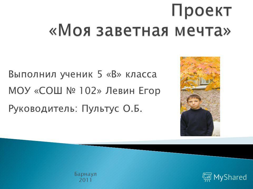 Выполнил ученик 5 «В» класса МОУ «СОШ 102» Левин Егор Руководитель: Пультус О.Б. Барнаул 2011