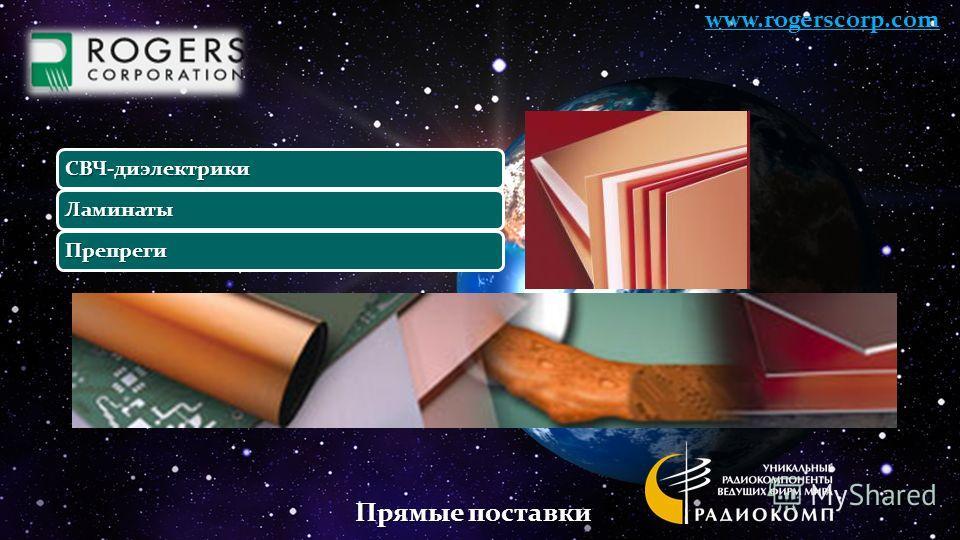 СВЧ-диэлектрики Ламинаты Препреги www.rogerscorp.com Прямые поставки
