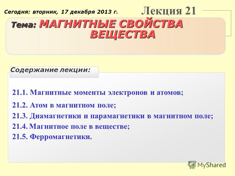 Лекция 21 Тема: МАГНИТНЫЕ СВОЙСТВА ВЕЩЕСТВА 21.1. Магнитные моменты электронов и атомов; 21.2. Атом в магнитном поле; 21.3. Диамагнетики и парамагнетики в магнитном поле; 21.4. Магнитное поле в веществе; 21.5. Ферромагнетики. Содержание лекции: Сегод