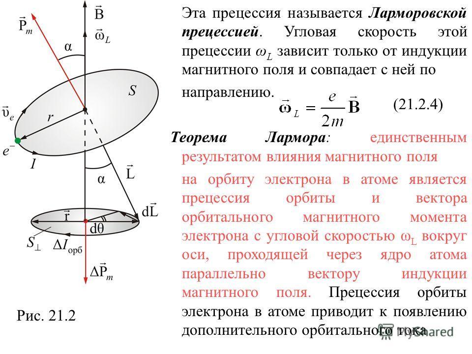 Эта прецессия называется Ларморовской прецессией. Угловая скорость этой прецессии ω L зависит только от индукции магнитного поля и совпадает с ней по направлению. Теорема Лармора: единственным результатом влияния магнитного поля на орбиту электрона в