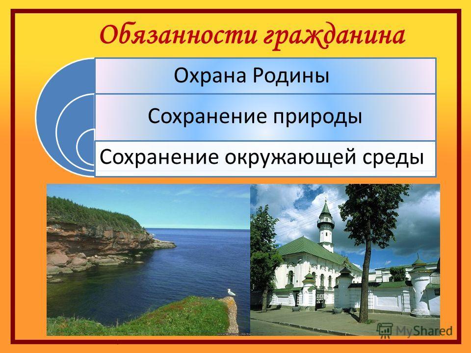 Обязанности гражданина Сохранение природы Охрана Родины Сохранение окружающей среды