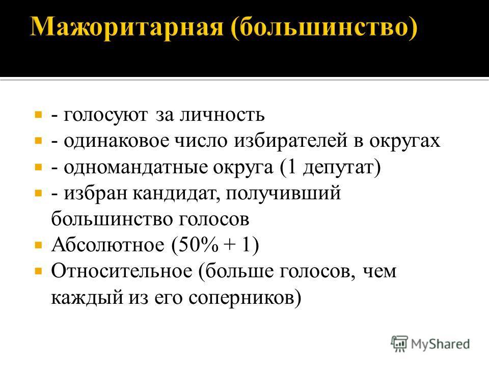 - голосуют за личность - одинаковое число избирателей в округах - одномандатные округа (1 депутат) - избран кандидат, получивший большинство голосов Абсолютное (50% + 1) Относительное (больше голосов, чем каждый из его соперников)