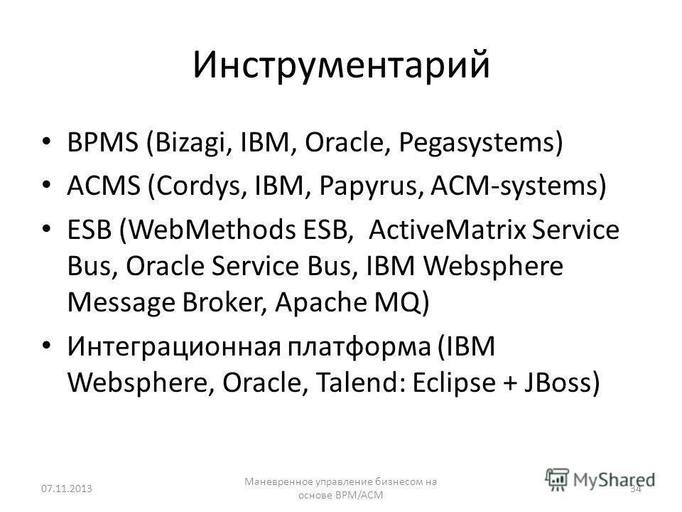 Инструментарий BPMS (Bizagi, IBM, Oracle, Pegasystems) ACMS (Cordys, IBM, Papyrus, ACM-systems) ESB (WebMethods ESB, ActiveMatrix Service Bus, Oracle Service Bus, IBM Websphere Message Broker, Apache MQ) Интеграционная платформа (IBM Websphere, Oracl