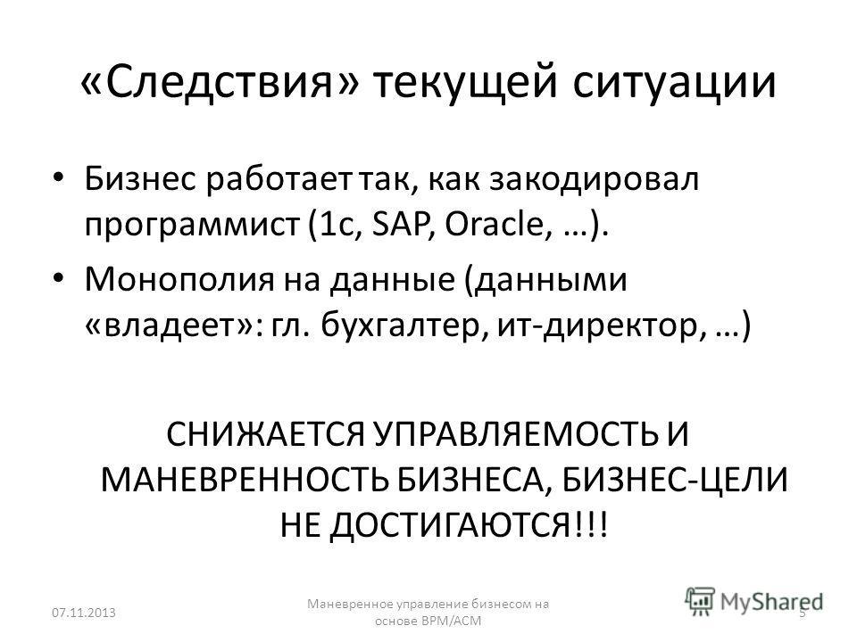 «Следствия» текущей ситуации Бизнес работает так, как закодировал программист (1c, SAP, Oracle, …). Монополия на данные (данными «владеет»: гл. бухгалтер, ит-директор, …) СНИЖАЕТСЯ УПРАВЛЯЕМОСТЬ И МАНЕВРЕННОСТЬ БИЗНЕСА, БИЗНЕС-ЦЕЛИ НЕ ДОСТИГАЮТСЯ!!!