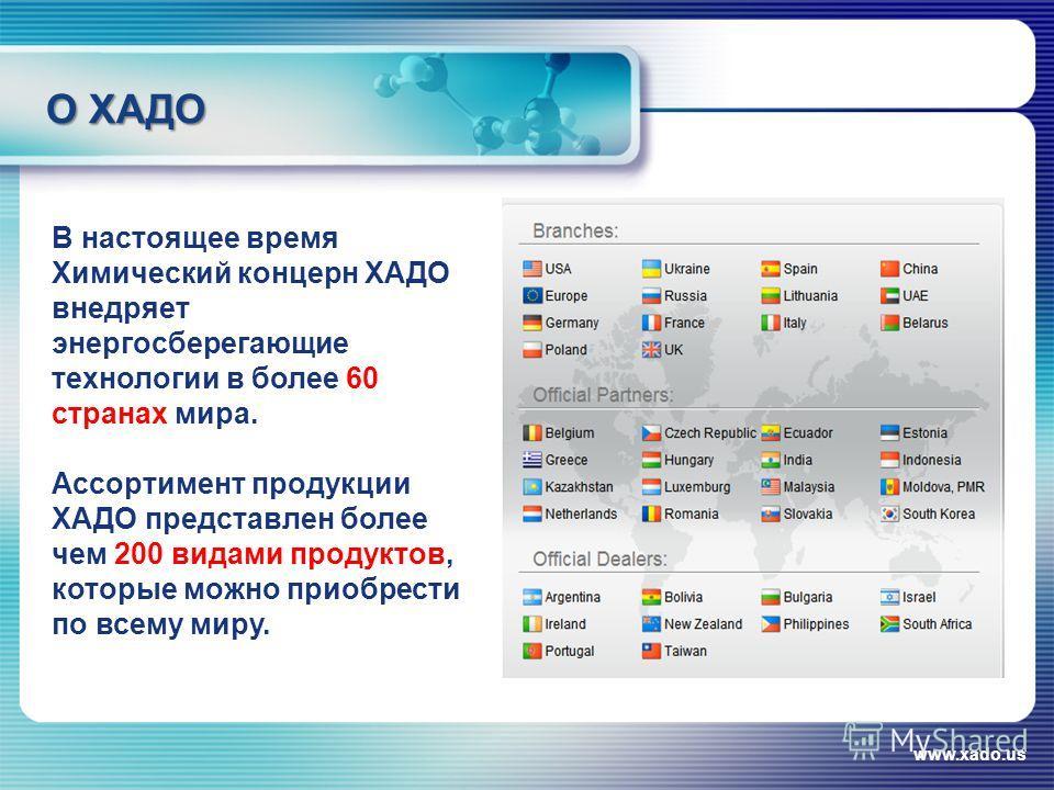 О ХАДО www.xado.us В настоящее время Химический концерн ХАДО внедряет энергосберегающие технологии в более 60 странах мира. Ассортимент продукции ХАДО представлен более чем 200 видами продуктов, которые можно приобрести по всему миру.