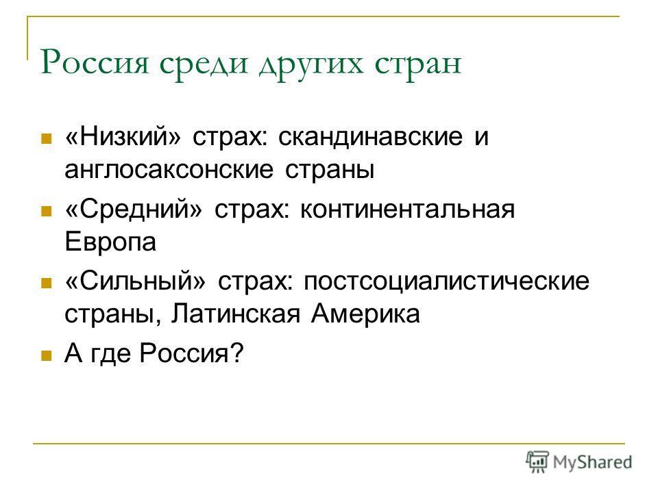Россия среди других стран «Низкий» страх: скандинавские и англосаксонские страны «Средний» страх: континентальная Европа «Сильный» страх: постсоциалистические страны, Латинская Америка А где Россия?