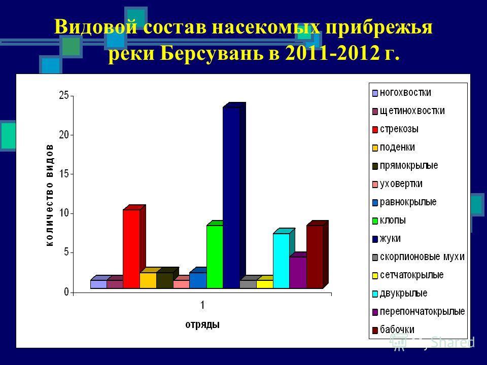 Видовой состав насекомых прибрежья реки Берсувань в 2011-2012 г.